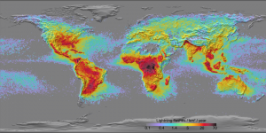 map of lightning flashes per year